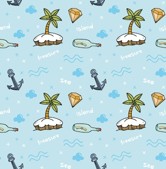 Treasure island seamless background in kawaii style