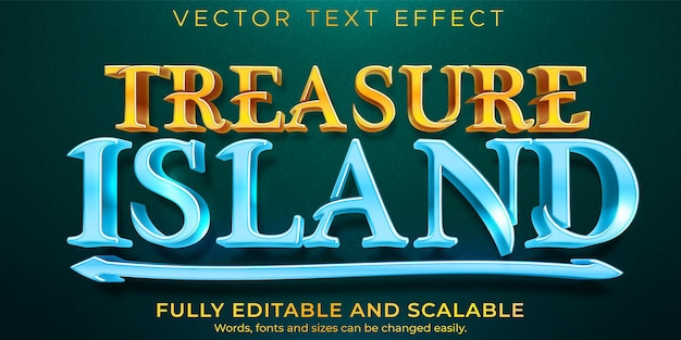 Treasure island text effect, editable pirate and tropic text style