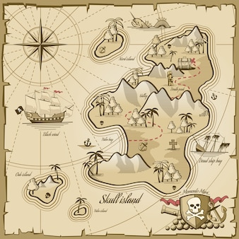 Векторная карта острова сокровищ в стиле рисованной. морское приключение, навигация по океану, пергамент плана и пути, иллюстрация монстра и сундука