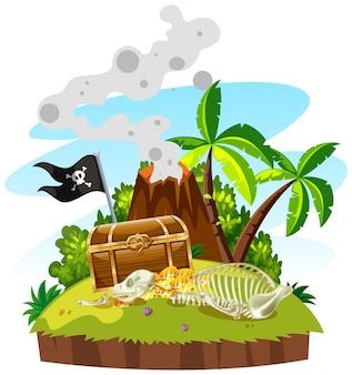 Остров сокровищ с сундуком и золотом