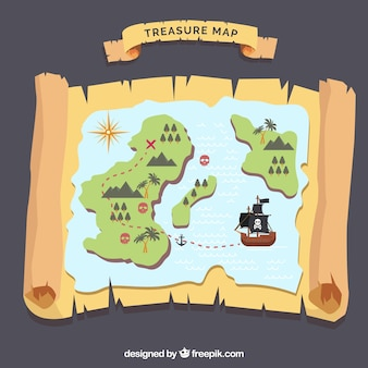 Treasure map background with island