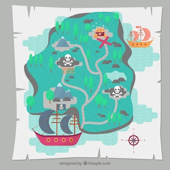 Treasure map background with pirate ship
