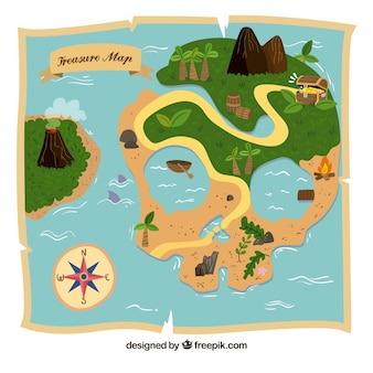 Treasure map of island with skull shape