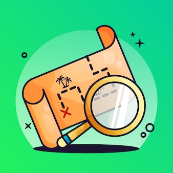 Treasure map with magnifying glass gradient illustration