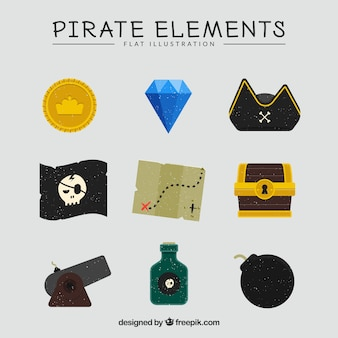 Treasure map with pirate elements in flat design