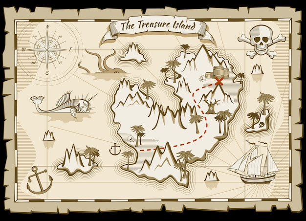 Treasure pirate hand drawn vector map