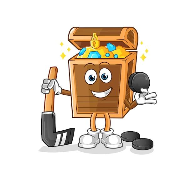 The treasure playing hockey . cartoon character