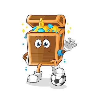 The treasure playing soccer illustration. character