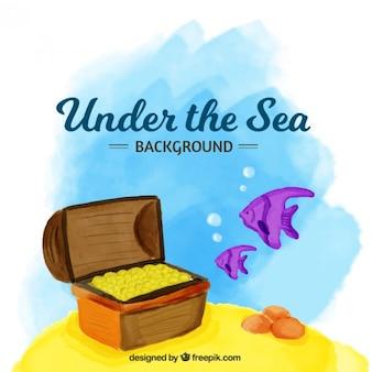Treasure under the sea watercolor background