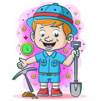 Искатель сокровищ в синей униформе и инструменты с лопатой в руках, чтобы найти сокровища.