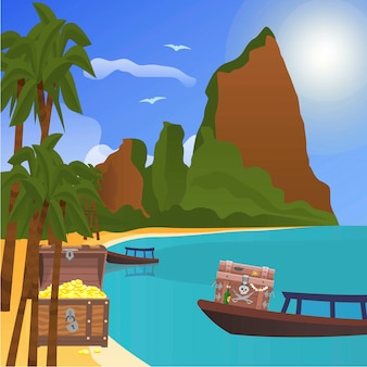 Treasure tropical island with chests of gold illustration.