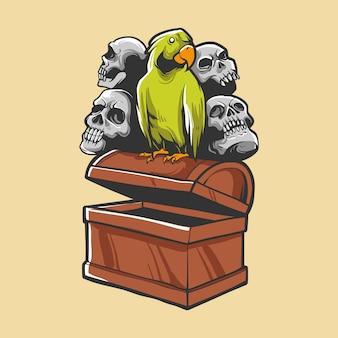 Treasure with bird and skull