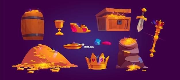 황금 동전, 보석 및 보석 더미의 재무 아이콘. 보물 상자, 가방 및 금, 잔, 왕관, 홀 및 단검으로 가득한 나무 통의 만화 세트