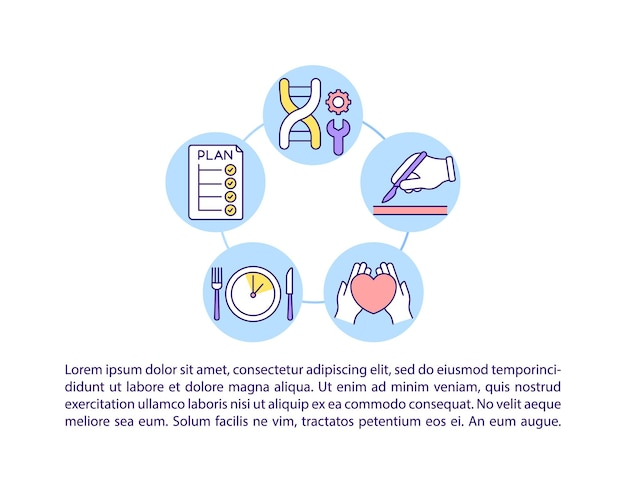 텍스트와 치료 개념 라인 아이콘