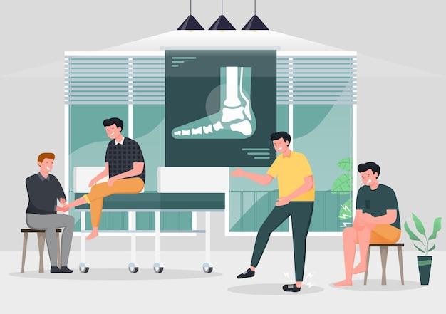 병원에서 의사가 염좌 한 발목 치료