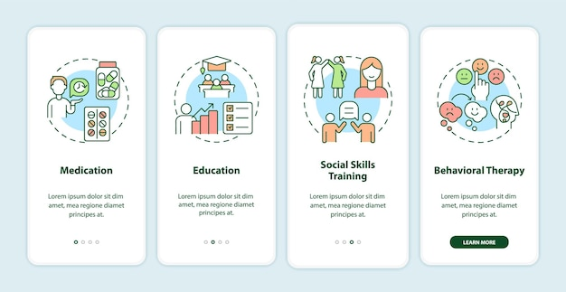 モバイルアプリのページ画面にオンボーディングしている成人のadhdの治療法。行動療法のチュートリアル4ステップのグラフィックによる説明と概念。線形カラーイラストとui、ux、guiベクトルテンプレート
