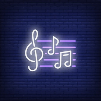 Treble clef and notes neon sign