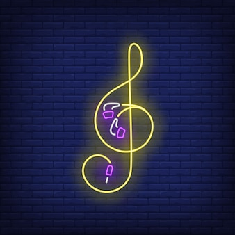 Treble clef made of earphones cable neon sign