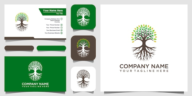 나무와 뿌리 로고 요소. 그린 가든 로고 템플릿 및 명함 디자인