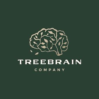木の脳の枝はスマートなロゴのテンプレートを考える