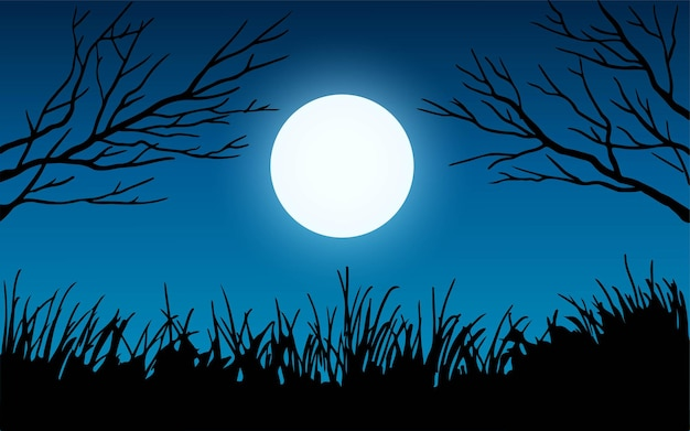 Tree branches and grass in the moonlight