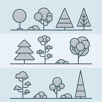 Tree bush park forest geometric nature set
