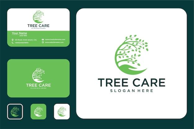 Дизайн логотипа ухода за деревьями и визитная карточка