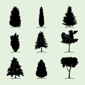 Tree collection flat icon with nine different kind of plants illustration