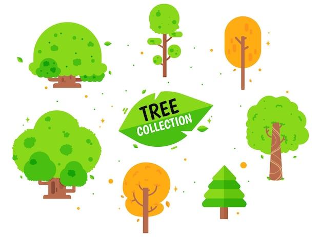 Коллекция деревьев пакет разных деревьев Бесплатные векторы