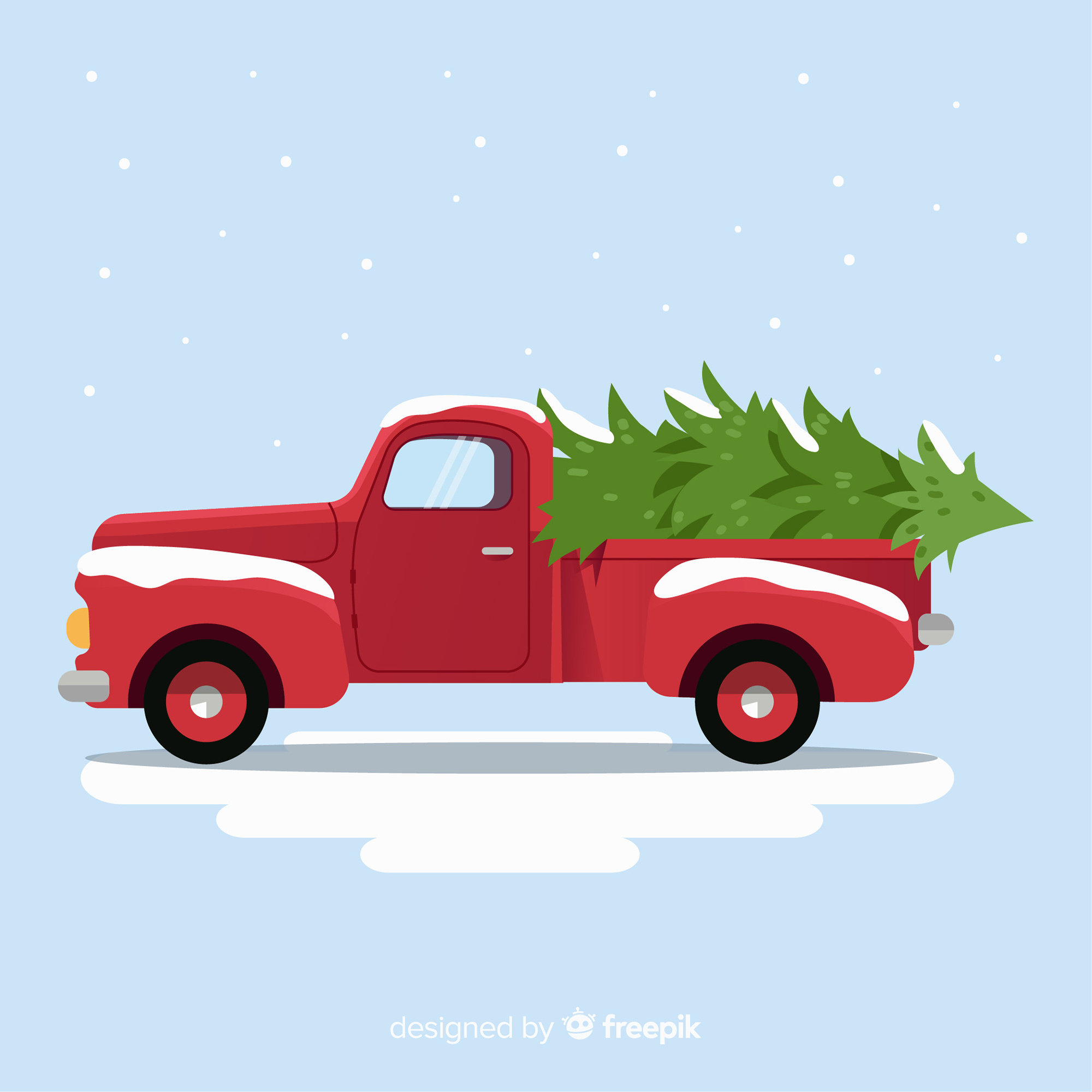 Tree delivery truck christmas background