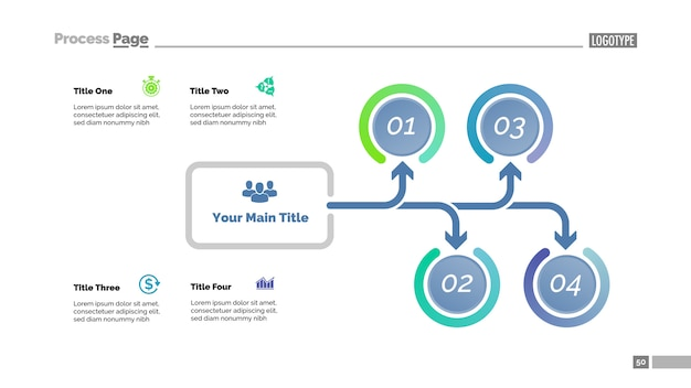 Tree diagram with four options. process chart, arrow diagram, slide template.