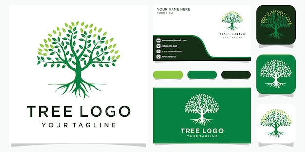木。要素の性質。緑の庭のロゴのテンプレートと名刺