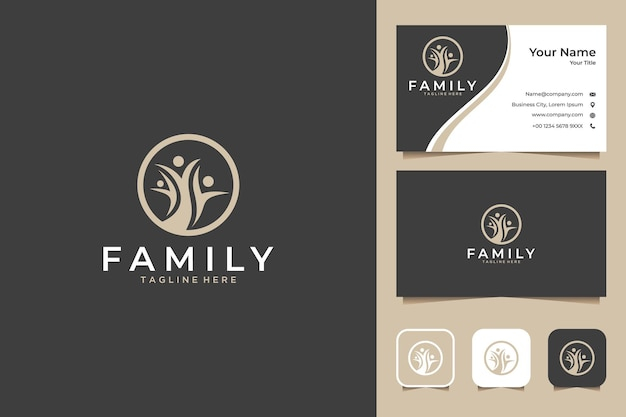 Tree family logo design and business card