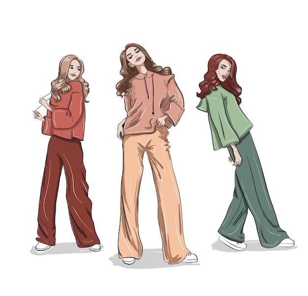 カジュアルなパーカーのイラストでツリーファッションの女性