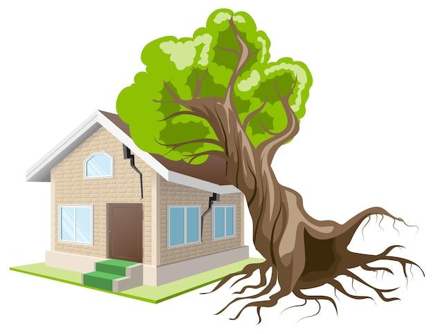 木が家に落ちた。住宅保険。ベクトル形式で分離されたイラスト