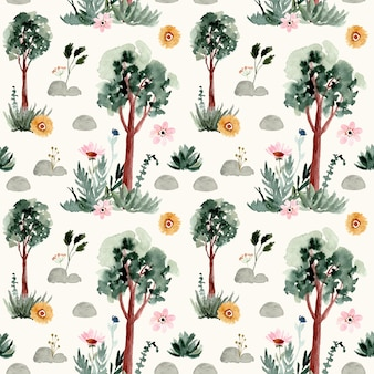 Tree and floral watercolor seamless pattern