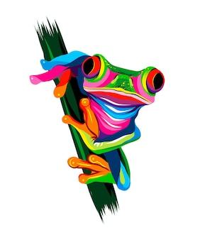 Древесная лягушка из разноцветных красок всплеск акварельного цветного рисунка реалистично