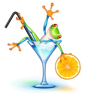 Древесная лягушка в коктейле голубая лагуна