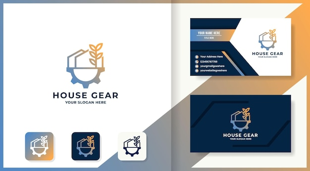 Tree gear house combination logo and business card
