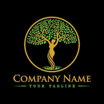 Tree goddess dryad logo template