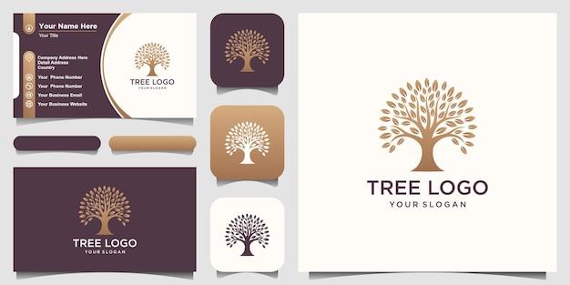 ツリーゴールデンロゴデザイン要素。グリーンガーデンのロゴのテンプレートと名刺