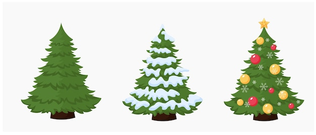 Tree green christmas fir tree  fur tree covered with snow isolated on white background