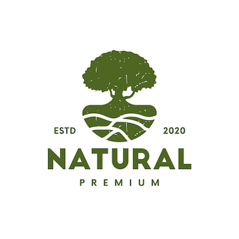 Tree ground vintage logo design