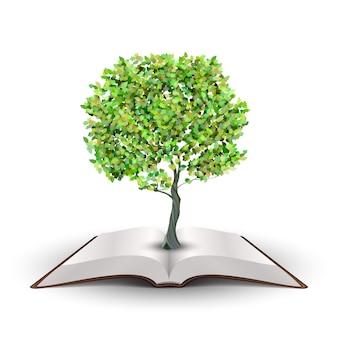 Albero che cresce dal libro aperto vettore isolato su bianco