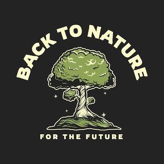 Дерево рисованной иллюстрации винтажный стиль дизайн футболки