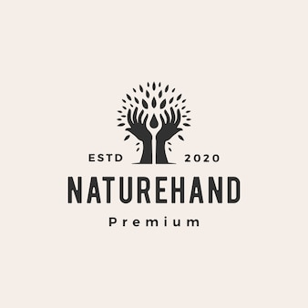 Tree hand nature leaf water drop hipster vintage logo  icon illustration