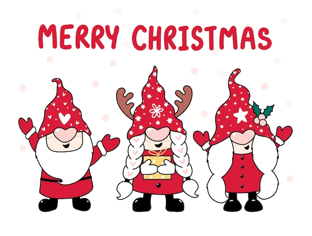 Елка счастливый гном в красной шляпе, с рождеством, мультфильм