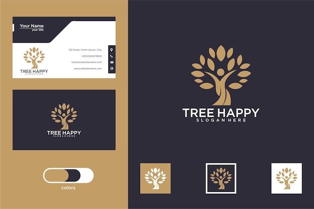 Дерево счастливый дизайн логотипа и визитная карточка