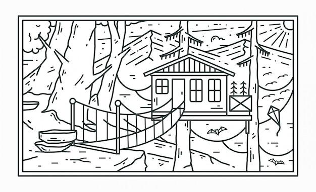 森の木の家と美しい山のシーンのモノラインデザイン
