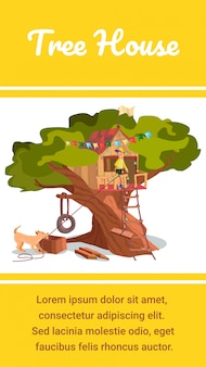 Tree house banner wooden eco forest garden hut